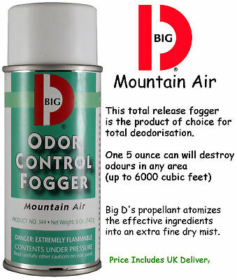 5 X Big D Mountain Air Odour Control Eliminator Fogger Bomb 5oz Deodoriser