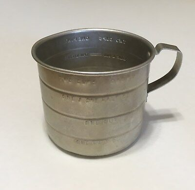 4-Piece Vintage Aluminum Measuring Cups, circa 1950s, Made in USA