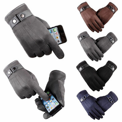 Mens Male Touch Screen Winter Warm Fleece Lined Thermal Gloves For Riding Skiing