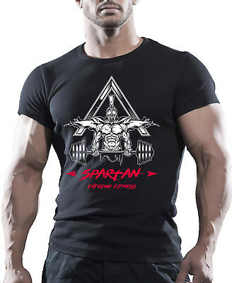 SPARTAN EXTREME FITNESS BODYBUILDING GYM MOTIVATION T-Shirt MMA WORKOUT  TOP