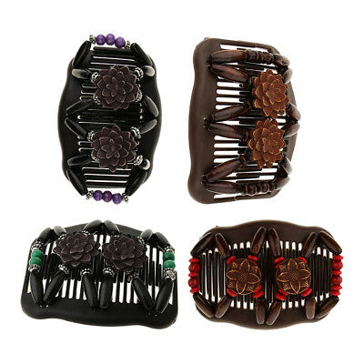 4x Magic Wooden Bead Stretch Double Side Combs Bun Maker Hair Stying Tools