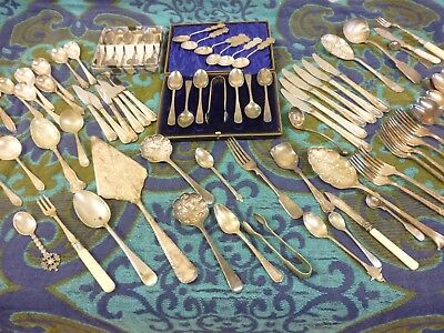 Job Lot ~ Assorted ~ Vintage Silver Plated Cutlery Items ~ 3.8 kgs