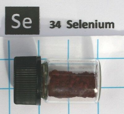 0.2 gram 99.99% Stable red Selenium  in glass vial - Very rare element 34 sample