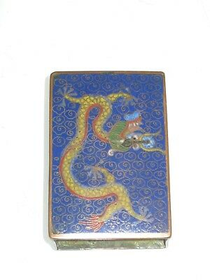 Stunning Antique Chinese Cloisonne 5 Toed Dragon Decorated Match Box Holder