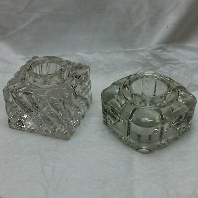2 Vintage Clear Glass Candle Holders Ornate
