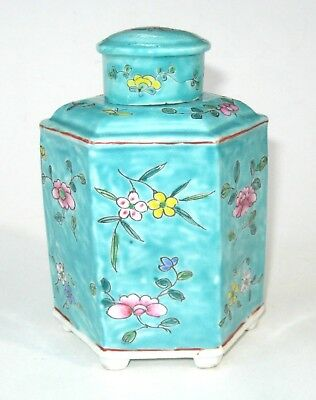 Chinese Porcelain Antique Turquoise Famille Rose Hexagonal Tea Caddy Ginger Jar