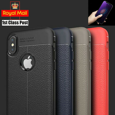 Luxury Leather Look Case and Glass Screen Protector iPhone X Xs Max XR 8 7 Plus