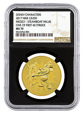 2017 Gold Mickey Mouse Steamboat Willie $250 NGC MS70 First 40 Black SKU45502