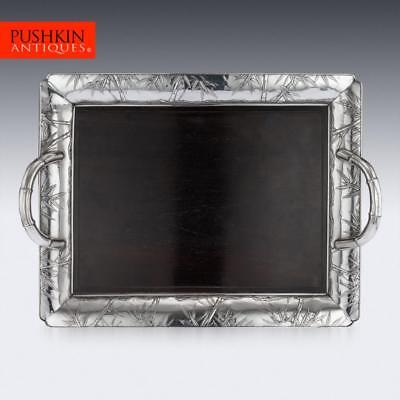 ANTIQUE 20thC JAPANESE SOLID SILVER & WOOD SERVING TRAY c.1900