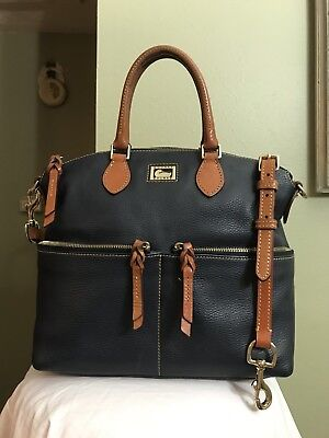 Dooney & Bourke Navy Blue Pebbled Large Pocket Satchel Black Gold bag Handbag