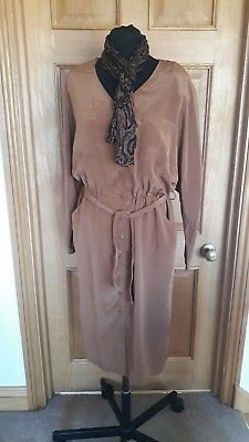 Ladies Vintage 80s Look Dress Size 16 Brown Fancy Dress