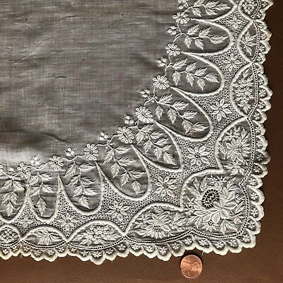 Vintage Victorian white embroidered drawnwork lace handkerchief  Bride COLLECT