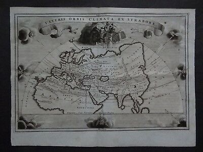 1701 Cellarius Atlas  WORLD map Veteris Orbis Climata ex Strabone  Ancient World