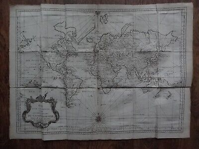 1748 BELLIN  Atlas  WORLD map - Essay D'Une Carte Reduite du Globe Terrestre