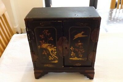Japanese lacquer wood vintage Victorian antique small cabinet box