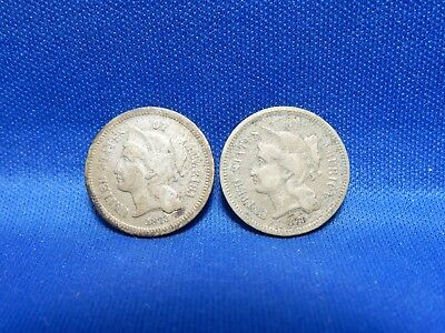 Set of 2 3-Cent Nickels 1873 Open 3 & Closed 3 - About Good