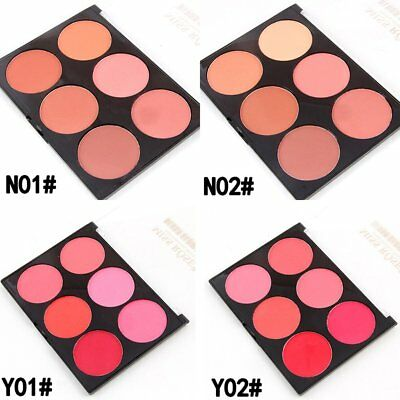 Six color Blush Makeup Cosmetic Natural Girl Women Blusher Powder Palette DM
