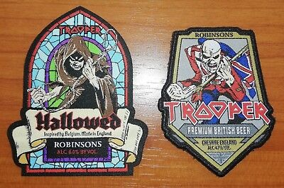 LAST THREE SETS !!! Hallowed & Trooper Beer Woven Patches Robinsons Iron Maiden