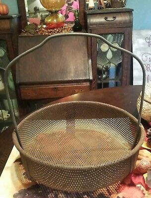 Vintage Steampunk Industrial Deco Heavy Rustic Metal Wire Basket Storage Farm