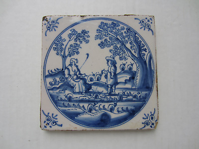 "Antique Dutch Delft Tile 5 1/8"" Sq., Couple Fishing, Snails, Trees - With Frame"