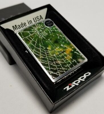 Zippo 28285 spider web due Raindrop GREEN brushed chrome Lighter New