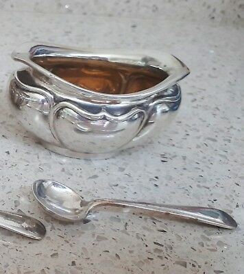 Antique sterling silver mustard pot with spoon - both items hallmarked