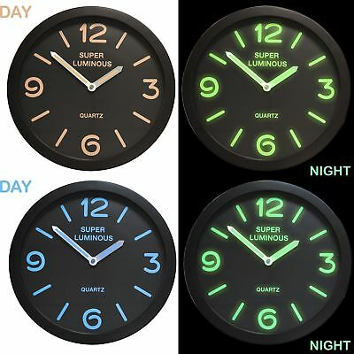 "12"" Glow In The Dark Round Novelty Wall Clock Hanging Bedroom Home Office Quartz"