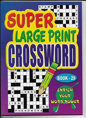 2 Super Large Print Crossword Books 76 Puzzles In Each A4 Size Books 29 & 30