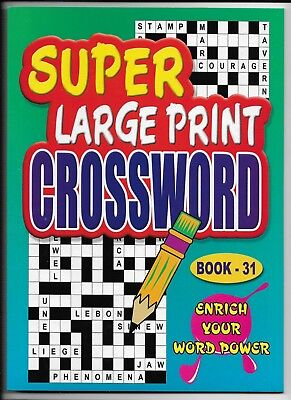 2 Super Large Print Crossword Books 76 Puzzles In Each A4 Size Books 31 & 32