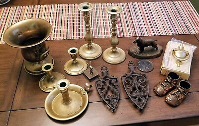 Group of Vintage 14 Brass/Cast Iron Items-Candlestick, Baby Shoes, Trivets, More