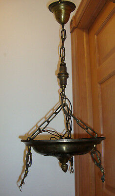 Vintage Art Deco Brass Plated Three Chain Hanging Ceiling Light Fixture - AS IS