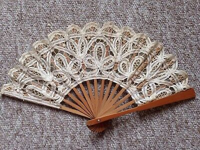 Antique Vintage White And Cream Lace And Wood Fan