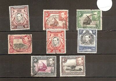 Kenya Uganda Tanganyika 1938 SG131etc as pic 8v of set NH/Used (1/-HMM)George VI