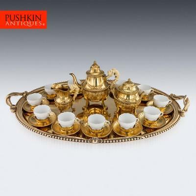ANTIQUE 19thC FRENCH SOLID SILVER-GILT TEA SERVICE, CARDEILHAC, PARIS c.1870