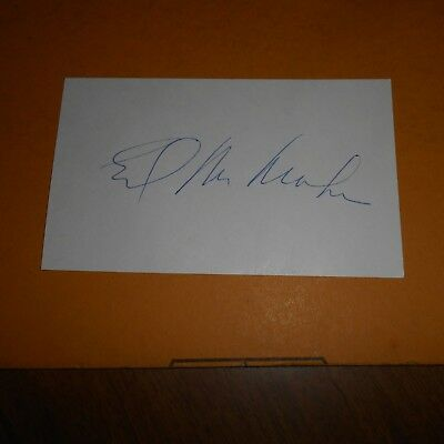 Ed McMahon was an American announcer, game show host Hand Signed 5 x 3 Card