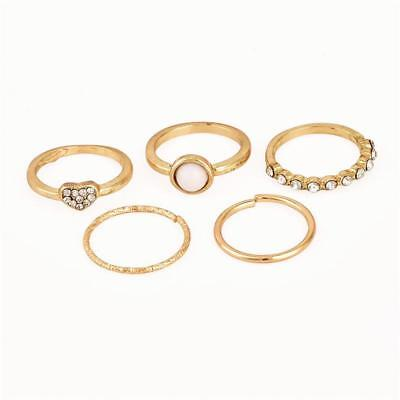 Set of 5 Gold Women Heart Love Pearl Opal Crystal Joint Ring Set Fashion N3