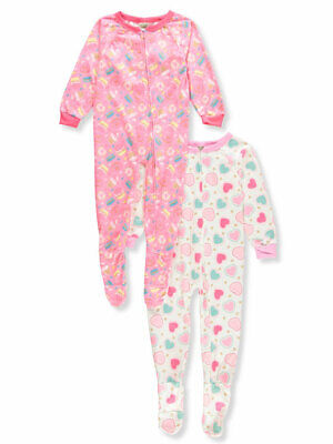 Sweet N Sassy Girls' 2-Pack 1-Piece Footed Pajamas