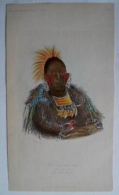 3 Catlin chromolithographs of native american chiefs 1855 with folders,good cond