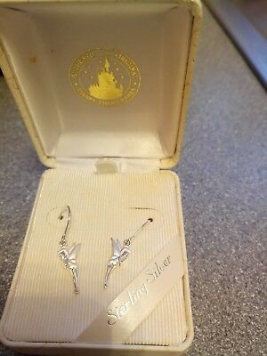 925 Disney Parks Sterling Silver Tinkerbell Drop Earrings New In Gift Box
