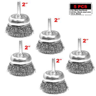 """Crimped Steel Wire Cup Brush 2"""" 1/4""""-1-1/8"""" 5 pcs for DeWalt Makita Power Drill"""