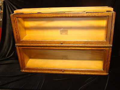 Antique Tiger Oak Globe Wernicke  Two Stacking  Barrister  Bookcase Section