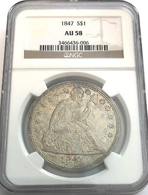 1847 Ngc Au58 Seated Liberty Silver Dollar Nice Original Toning Au 58 #006