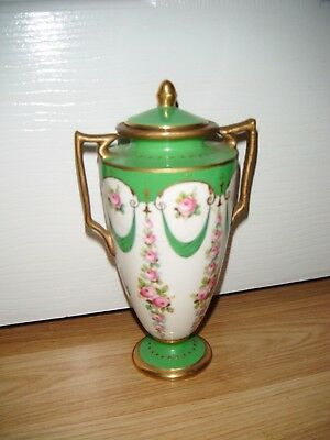 Vintage Minton Green Lidded Urn ~ Covered Vase ~  A/F