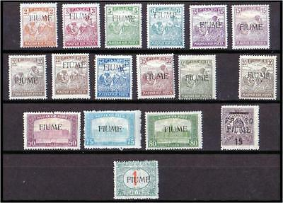 "17 HUNGARY ""FIUME"" 1918 Overprint Arato Parliament Porto issues. All Mint-Hinged"