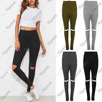 New Womens Full Ankle Length Knee Cut Out Marl Leggings Pants Skinny Trousers
