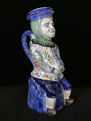 TOBY JUG Mark of Pieter Adriaensz Kocks- Delft or Desvres Faience ANTIQUE c.1890