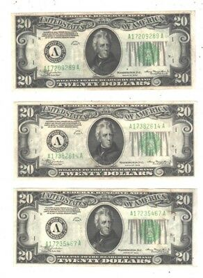 THREE 1934 $20 Federal Reserve Notes  (Boston)  AU-UNC