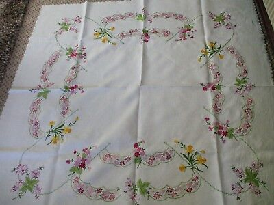 """Vintage Embroidered Floral Tablecloth Linen Hand Stitched Beautiful 51"""" X 52"""""""
