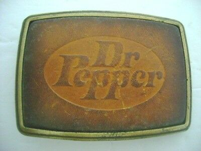 """dr. Pepper"" Bronze  Belt Buckle With Leather Center"
