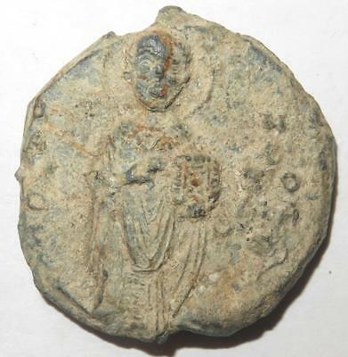 Byzantine Lead Seal Man Standing Holding Book
